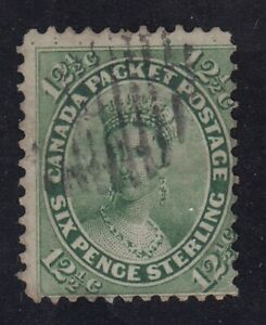 """Canada Scott #18  12 1/2 cent Queen Victoria yellow green """"First Cents""""  F  *"""