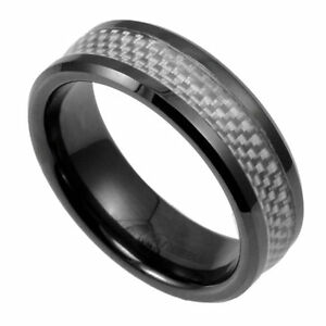 in Gift Box TUNGSTEN CARBIDE Ring with White Carbon Fiber Band NEW size 11