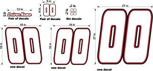 RACE-CAR-NUMBERS-amp-NAME-CUSTOM-WHITE-RED-BLACK-BIG-SET-DIECUT-VINYL-NEW