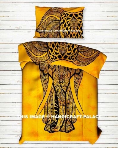 Indian Elephant Printed Yellow Tapestry Cotton Boho Twin Bed Sheet Bedding Set