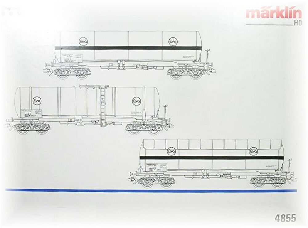 Märklin 4855 3-piece Car set Tank wagon Eva Ep. 4 with KK NIP