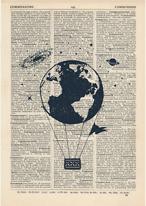 Antique Book page Art Print-Hot Air Balloon 9 Upcycled Dictionary Wall Art Print