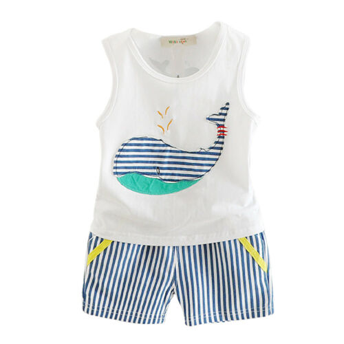 2PCS New toddler kids boys summer outfits clothes cotton T shirt /& shorts whale