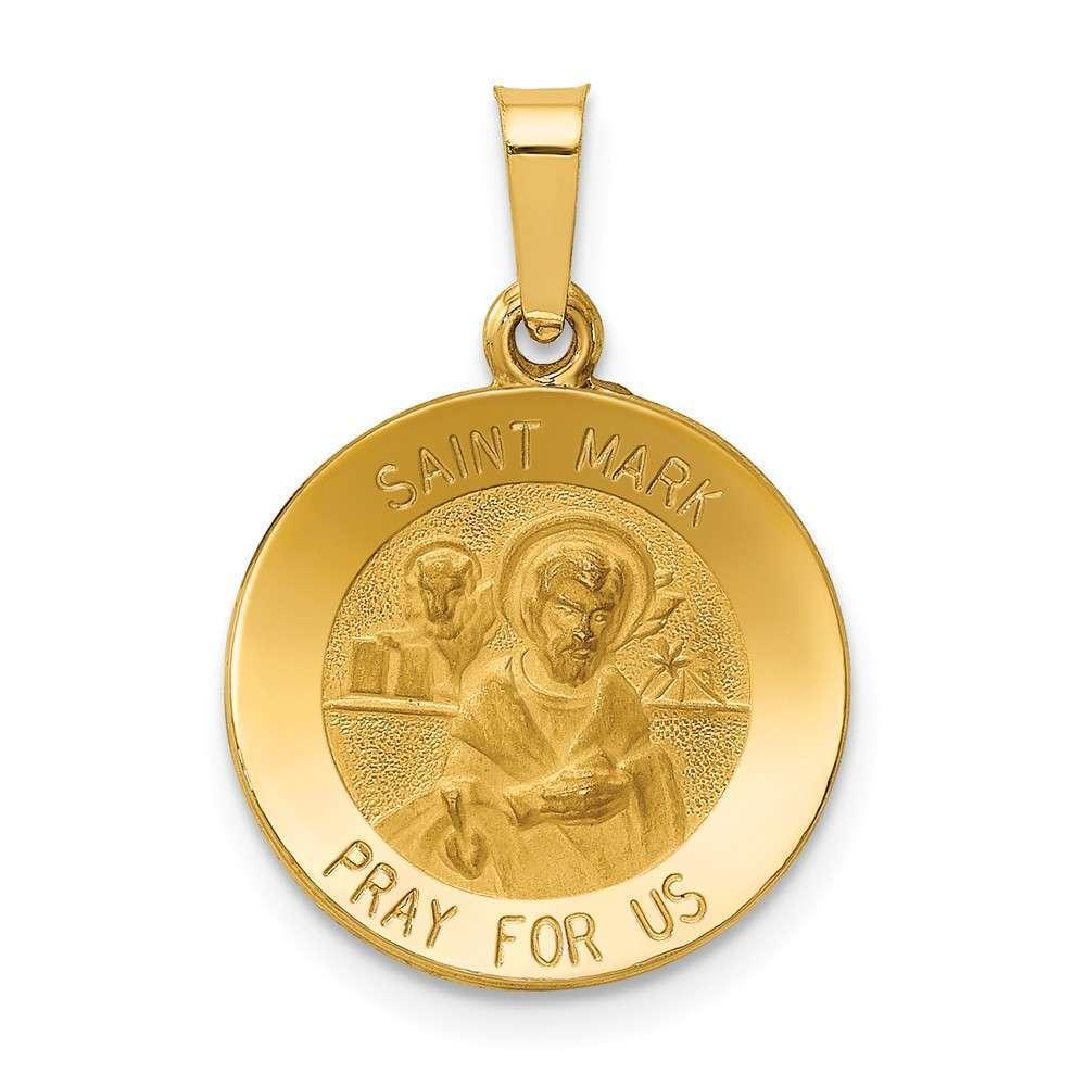 14K Yellow gold Polished & Satin St. Mark Medal Pendant