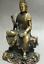 8-034-Old-Tibet-Buddhism-Bronze-Free-Kwan-Yin-Bodhisattva-On-Stone-GuanYin-Statue miniature 7
