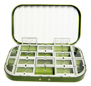 Aluminum Silver 16 Compartment Trout Fly Box Nymphs Wet Dry Flies Rods Reels Net
