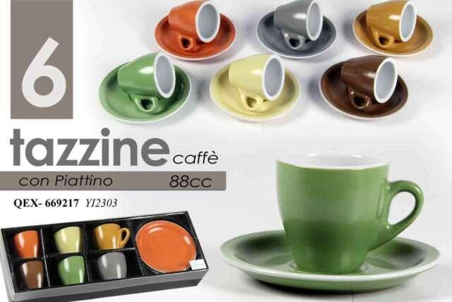 set 6 tazzine caffè assortite con piattino 88 ml colori assortiti qex 669217