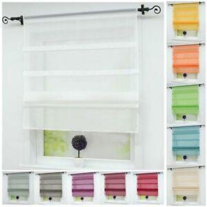 Details zu Raffrollo Küche Gardinen Vorhänge Raffgardine Fenstergardine  Weiß Modern Uni