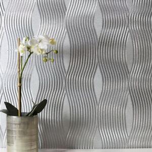 Feuille-Vague-Metallique-Papier-Peint-Vinyle-Arthouse-Argent-294501