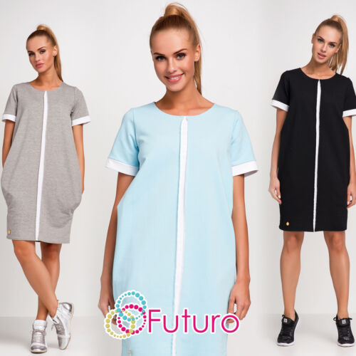 Ladies Casual Mini Dress With Pockets Short Sleeve Crew Neck Sizes 8-14 FA442