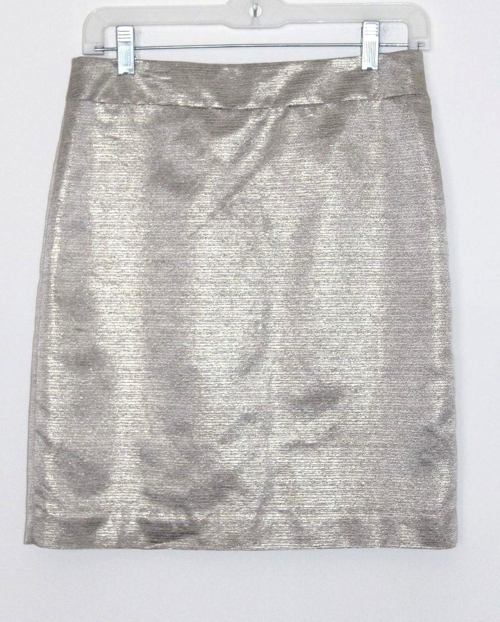 Ann Taylor LOFT - 4 (S) - gold Metallic Acetate Cotton Woven Mini Pencil Skirt