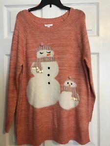 Lauren-Conrad-Xlarge-Fuzzy-Snowmen-Orange-Pink-Long-Sleeve-Sweater-Tunic-NWT