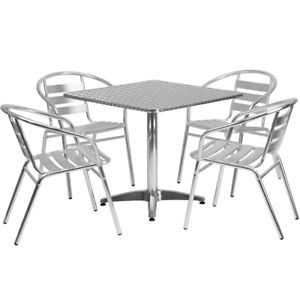 Image Is Loading Metal Aluminum Outdoor Round Dining Table Slat Back
