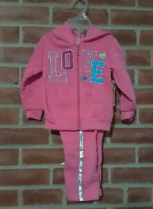 NWT-Girl-039-s-Toddler-2-piece-Zip-Up-Hooded-Sweat-Outfit-Set-12-mths
