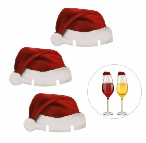 10pcs Christmas Santa Hat Table Champagne Red Wine Glass Cup Caps Party Decor US