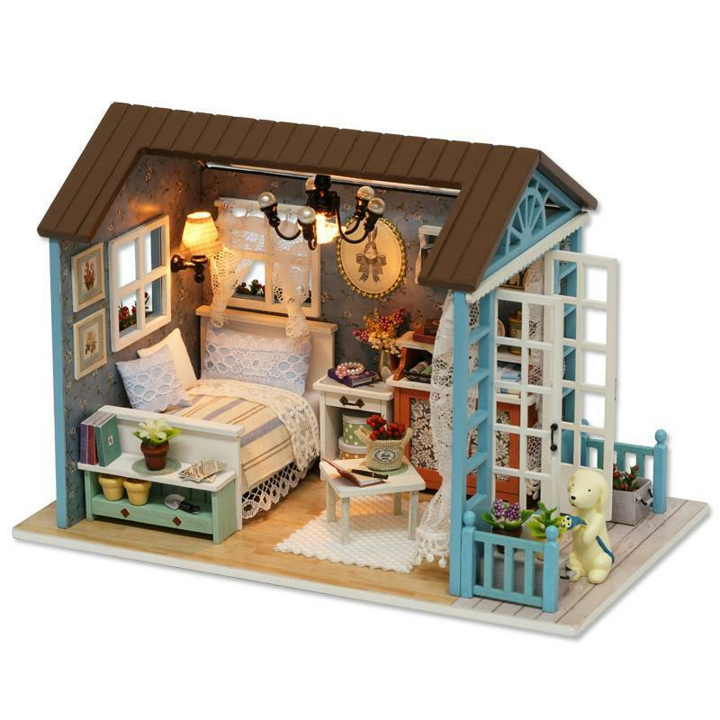 Gifts Miniature Doll House Girls Model Building Kits Wooden Furniture For Girls House e7363b