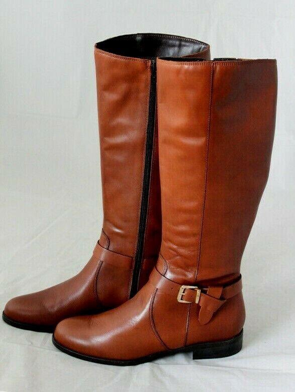 Anna Dé Valle Dame eleganter Stiefel Leder cognac Blockabsatz 25mm Gr 41 NEU S28