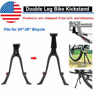 MTB Bike Kickstand Bicycle Double Leg Kick Stand Center Mount Adjustable Black