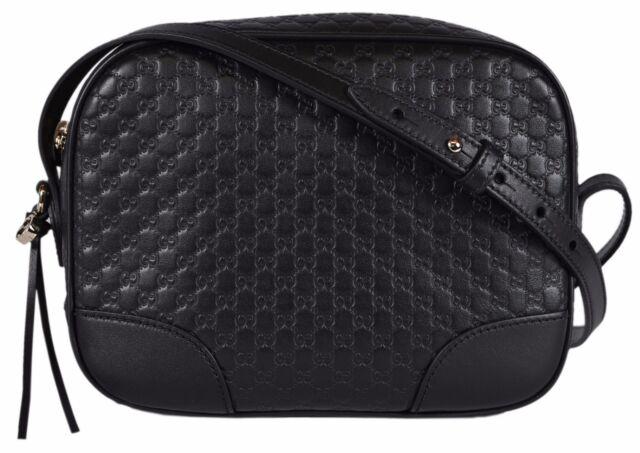 05635cbc554 NEW Gucci 449413 Black Leather Micro GG Guccissima BREE Crossbody Purse Bag