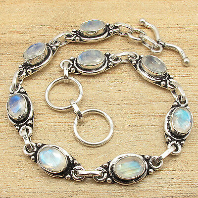 7.5 Inch Fire MOONSTONE Gems Bracelet ! 925 Sterling Silver Plated GEMSET