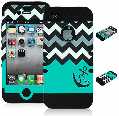 For iPhone 4, 4S Hybrid Teal Chevron & Anchor Design Case + Black Silicone Cover