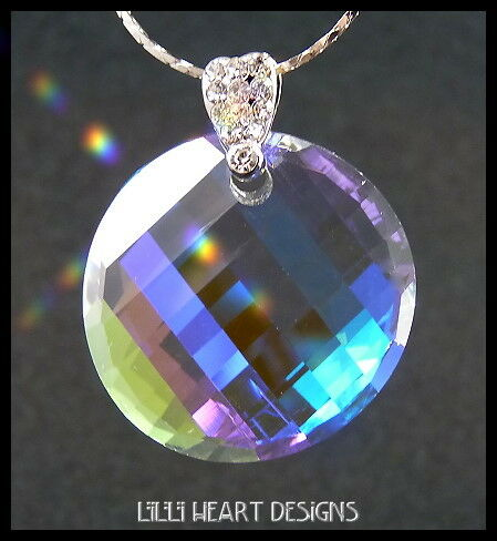 FINE CRYSTAL Round Matrix on Silver Plated Chain with Fancy Bail AURORA BOREALIS