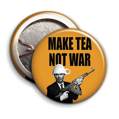 Make Tea Not War 25mm 1 inch Button Badge Tony Blair Parody