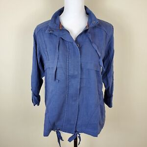 Style-amp-Co-Jacket-Zip-Up-Roll-Tab-Sleeve-Uniform-Blue-Women-039-s-Size-S-Small-NWT