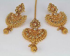 Original Gold Plated Indian Handmade Wedding Fashion Jewelry Women Ethnic Earring Tikka Fashion Jewelry
