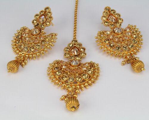 New Gold Plated Ethnic Indian Fashion Jewelry Wedding Earring Maang Tikka Women