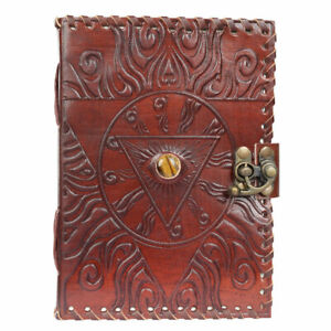 """Alchemist's Leather Journal 5x7"""" Unlined Handmade Blank Book with Tiger's Eye"""