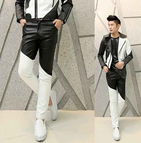 Mens PU Leather Casual Pants Slim Fit Casual Nightclubs Skinny Punk Hot Trousers