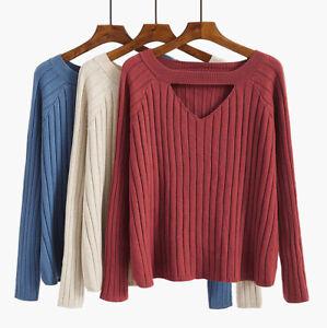 New-Women-Girl-Fashion-Korean-Winter-Fall-Sweater-Knit-Top-Loose-Cut-Out