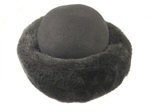 Vintage-Commodore-Womens-Black-Faux-Fur-Winter-Hat-Cossack-USA-Fashion