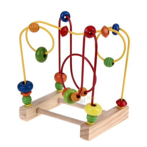 XD#3 Wooden Toys Baby Math Toys Colorful Mini Around Beads Wire Maze Educational