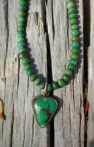 Signed-Handmade-RARE-Green-Turquoise-and-Sterling-Silver-Pendant-Necklace