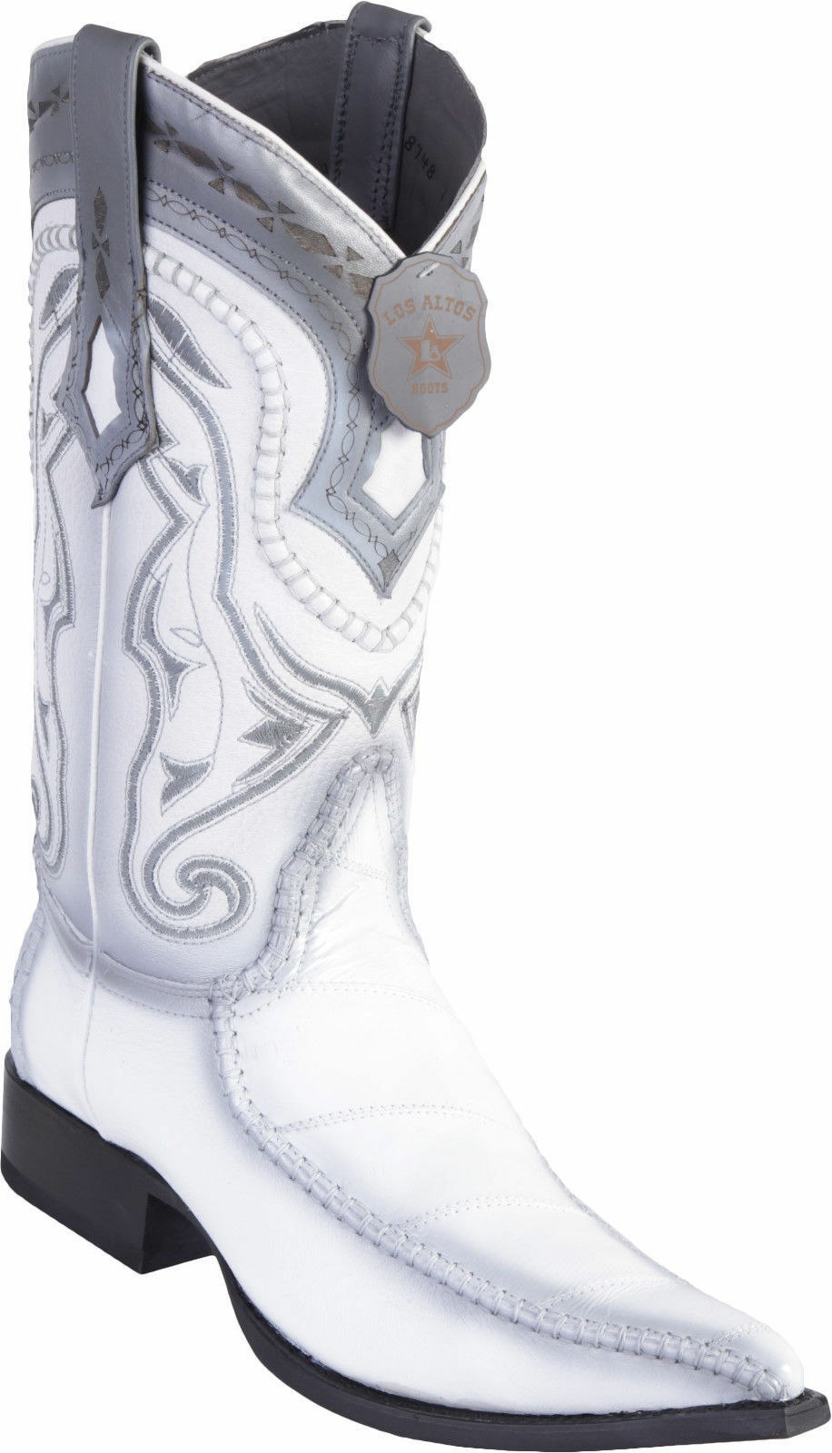 LOS ALTOS Uomo BIANCA GENUINE EEL EEL GENUINE 3X TOE WESTERN COWBOY BOOT EE+ 13ac80
