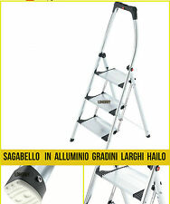 Sgabello in alluminio 3 gradini larghi Hailo, scala con parapetto alto scaletta