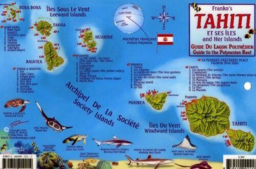 Tahiti /& Society Islands Dive Map Reef Creatures Laminated Fish Card Franko Maps