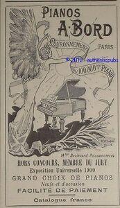 PUBLICITE-ANCIENNE-ET-ORIGINALE-DE-1900-PIANO-A-BORD-FRENCH-AD