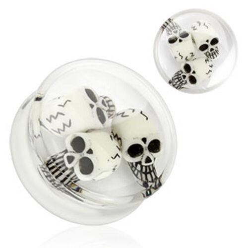 Túnel bollos Plug calavera Skull piercing Double flared clear blanco 3d inlay