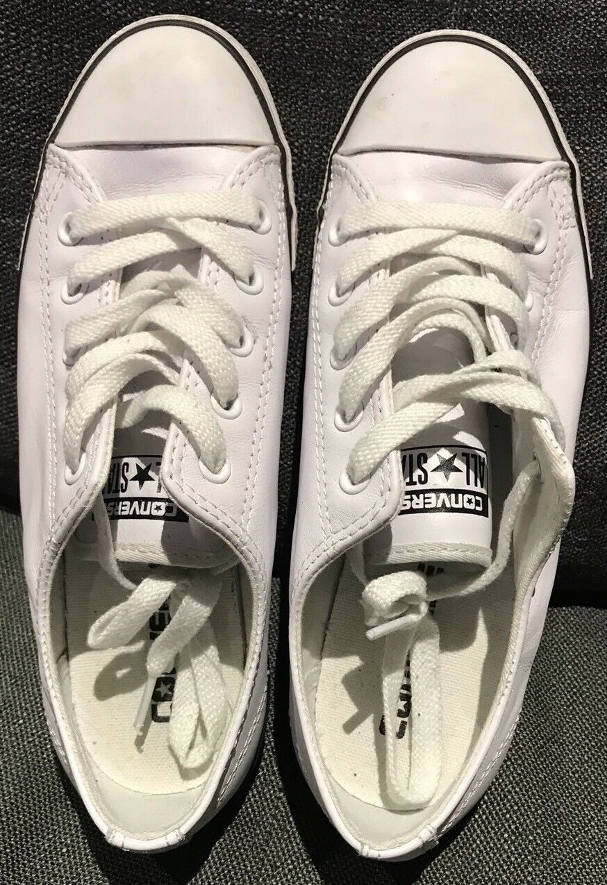 Converse White Leather Womens Shoes Size 6