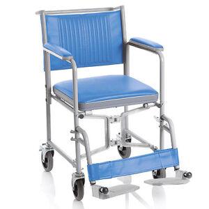 Dettagli su Sedia comoda wc con ruote - Ausilio bagno sedia comoda anziani  e disabili