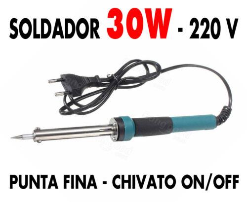 Soldador electrónica 30 W 220 V punta fina intercambiable NUEVO !!
