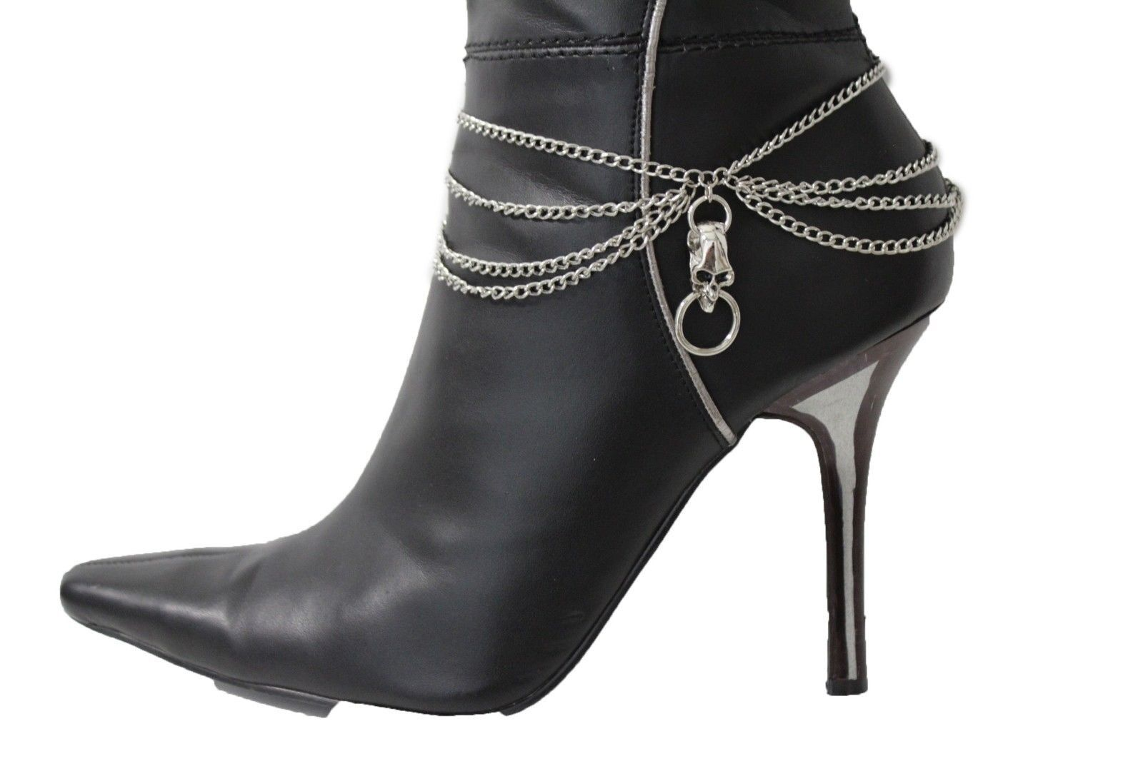Women Silver Metal Chains Boot Bracelet Heel Shoe Side Skull Charm Bling Jewelry