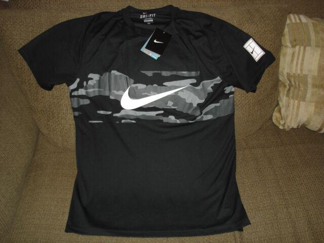 4f30034a0ce2 NWT Nike Practice Camo Dri-Fit Tennis Crew Shirt 685319-010 NEW Nadal  Federer