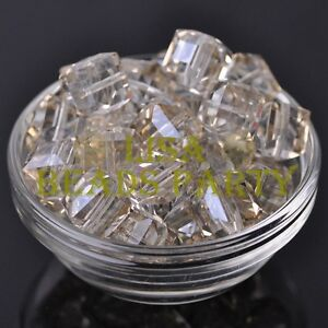 New-5pcs-14mm-Big-Cube-Square-Crystal-Glass-Loose-Spacer-Beads-Light-Champagne