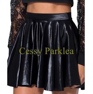 Black-Vinyl-Wet-Look-Faux-Leather-Pleated-Skater-Dancer-Skirt-M-XXL-8-16