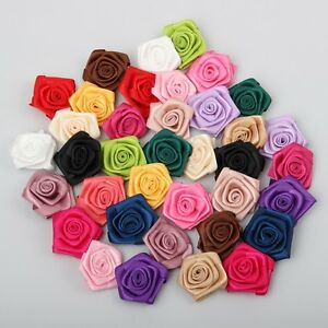 20pcs hot sell 40mm satin ribbon rose flower appliques for Wedding crafts to make and sell