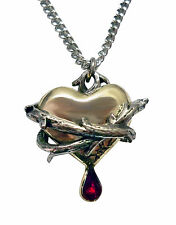 Bleeding Heart Wrapped in Thorns with Red Crystal Pendant Necklace NK-556GS